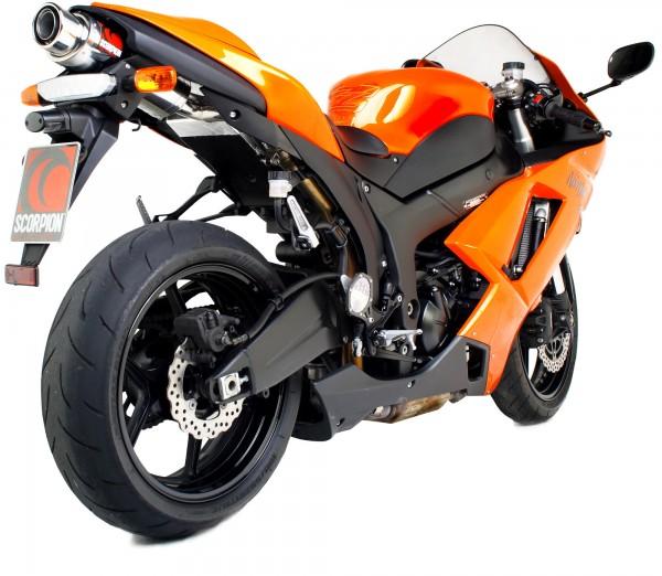 Scorpion Stealth Auspuff für Kawasaki ZX6 RR 2007-2008 Motorräder liegend
